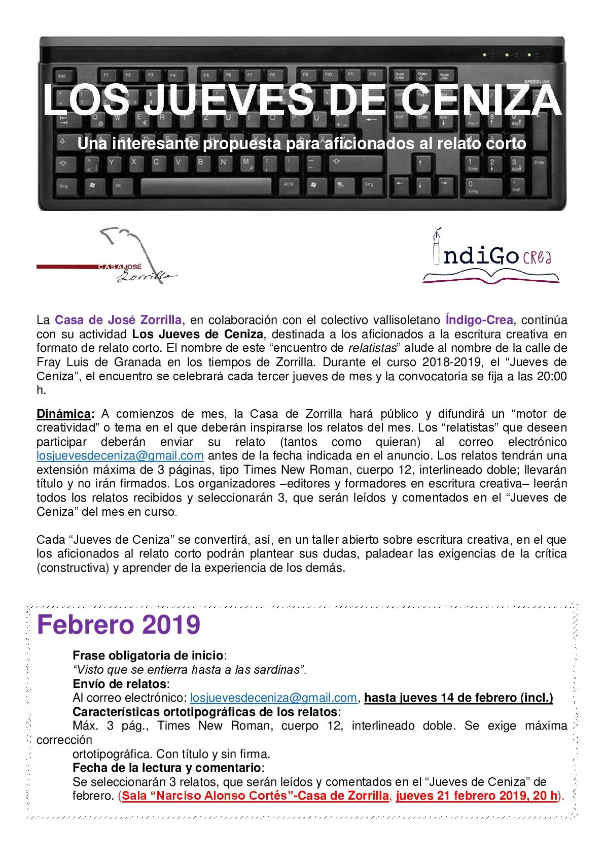 Jueves de Ceniza. Convocatoria de febrero 2019